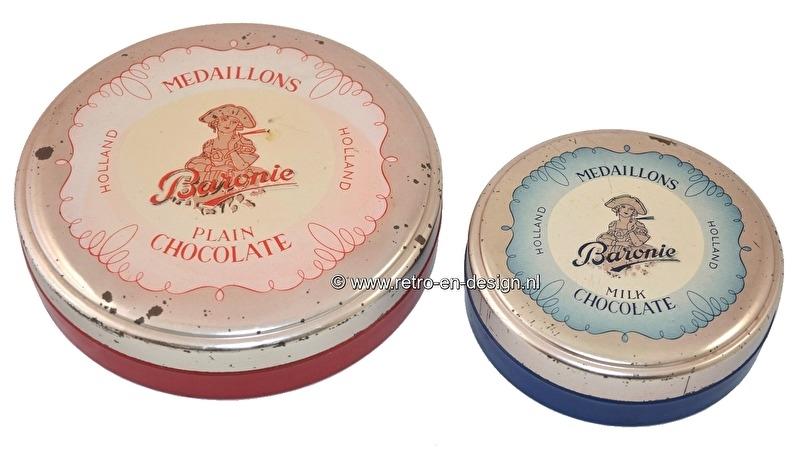 Set van twee ronde Baronie chocoladeblikken, Medaillons. Milk chocolate & Plain Chocolate