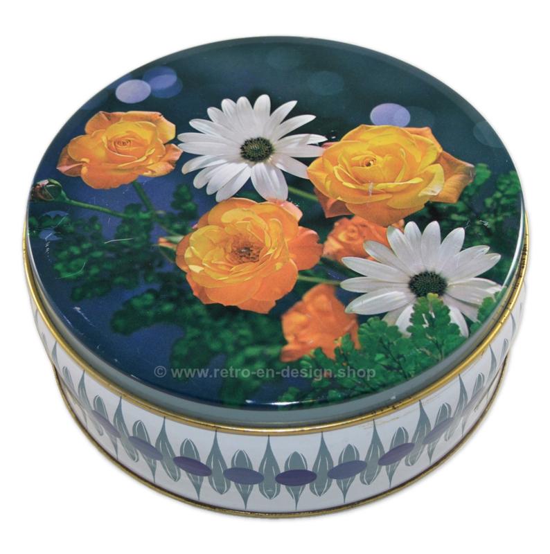 Vintage blikken trommel met bloemdecoratie, uit Engeland