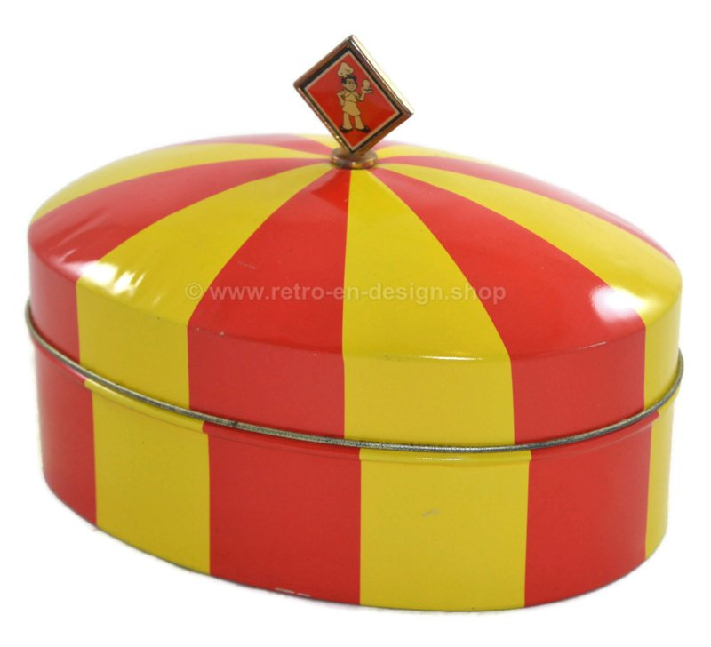 Oval vintage biscuit tin in red and yellow, in the shape of a circus tent by Bolletje