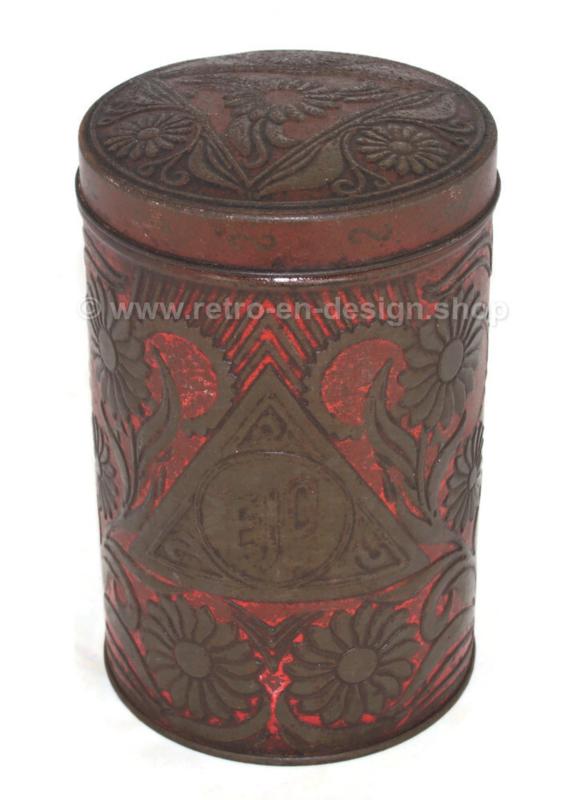 Boîte métallique rouge avec motif floral en relief pour la poudre de cacao par EJO
