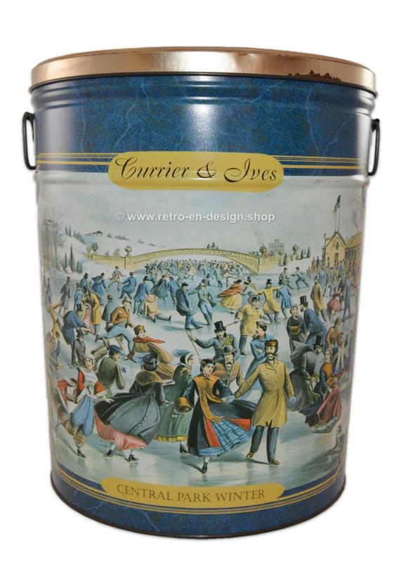 Grote vintage blikken trommel, Currier and Ives - Central Park Winter