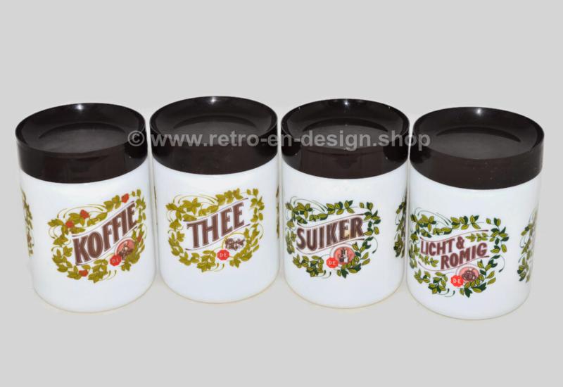 Complete set of Retro-Vintage white Opaline Douwe Egberts storage jars for coffee, tea, sugar and cream