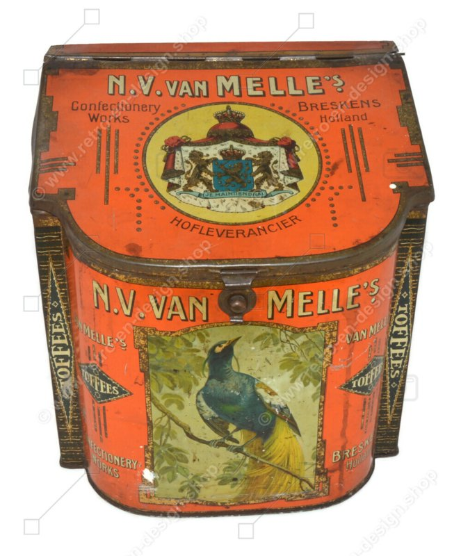 Rectangular shop counter tin with semicircular front and sloping lid with decoration peacock, parrot and bird of paradise by Van Melle Toffees, Breskens