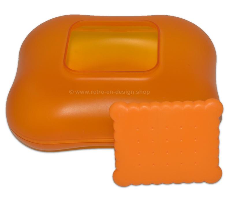 Transparente orange Vintage Alessi Keksdose 'Mary Biscuit' von Stefano Giovannoni