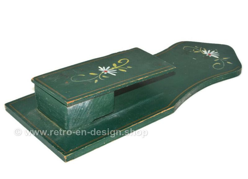 Soporte para cajas de cerillas de madera vintage de los años 70