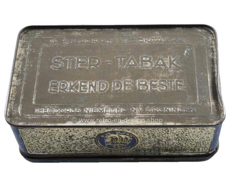 Lata de tabaco en azul/plata en relieve con barcos para el tabaco estrella de Niemeijer