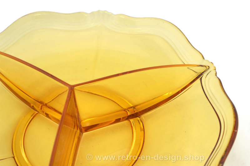 Large amber-colored three-compartment bowl Ø 26.5 cm