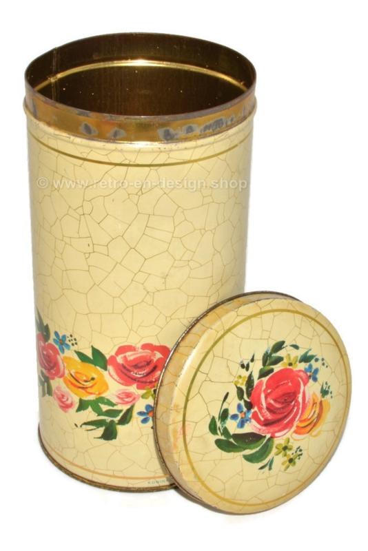 Cremekleurige beschuitbus met bloemen en craquelemotief voor VERKADE.
