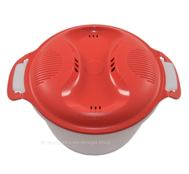 Tupperware rice maker in white and red for microwave use