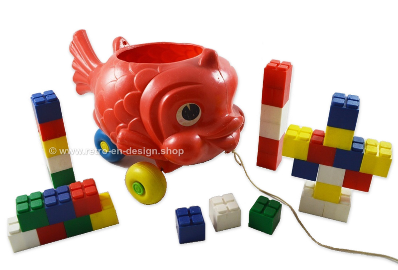 Vintage 60s plastic fish with building blocks