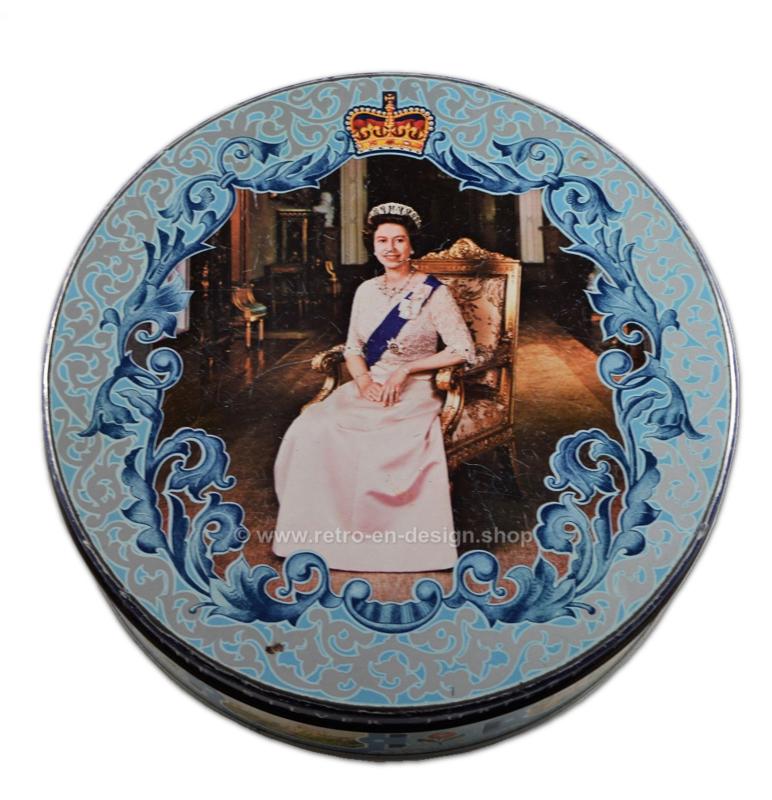 Vintage blikken trommel ter gelegenheid van het zilveren jubileum van Koningin Elizabeth 1977