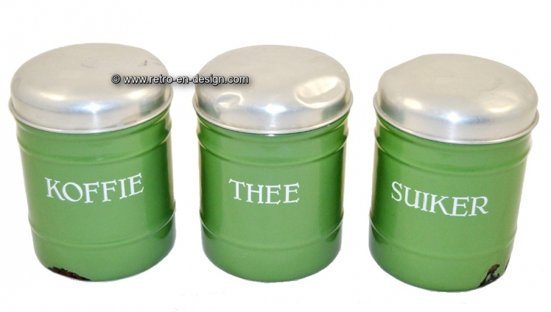 Brocante enamel canisters for coffee, tea and sugar