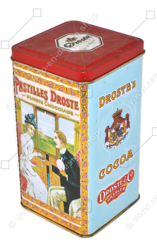 Square vintage tin by Droste for chocolate pastilles with images of train compartment and flamingos