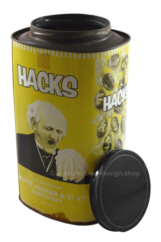 Large rare vintage HACKS tin in yellow colors