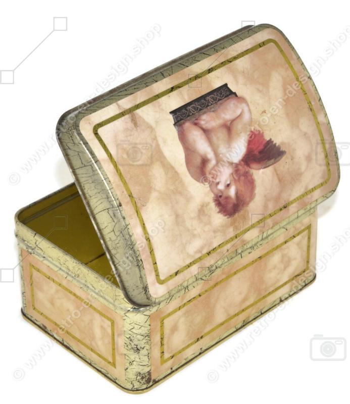 Boîte vintage avec une image d'un ange, d'un chérubin ou d'un putti de Rafaël