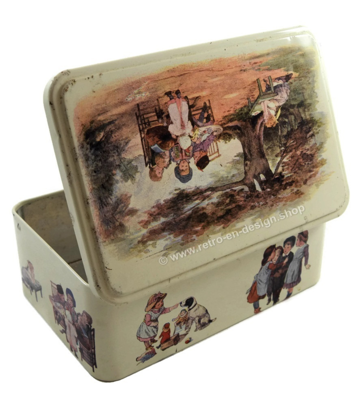 Biscuit tin with playing children, by Massilly France