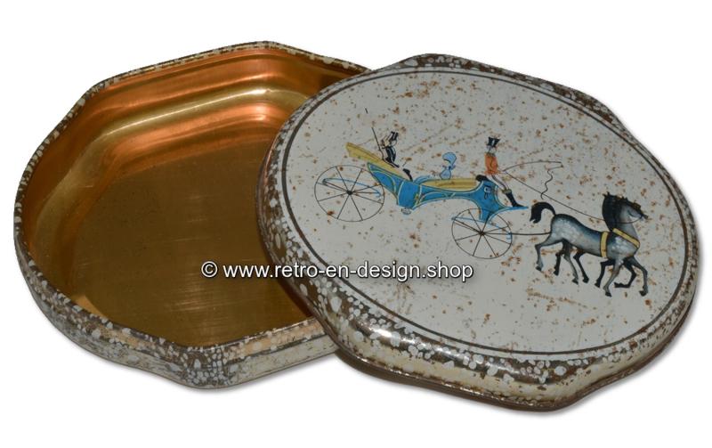 Vintage ovale blikken doos van ALBERT HEIJN met voorstelling van koets met paarden