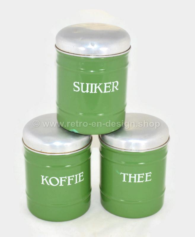 Juego de tres latas de almacenamiento brocante esmaltadas para café, azúcar y té en verde reseda
