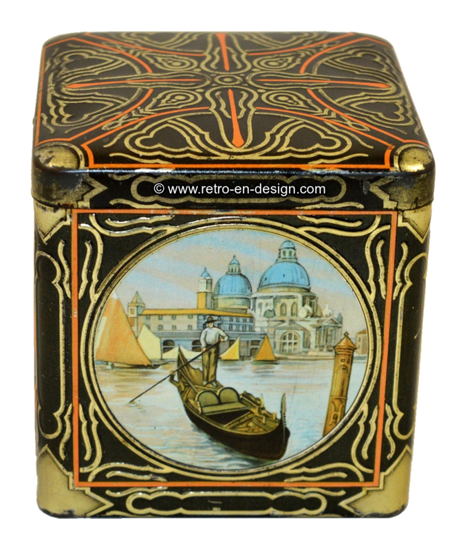 Square tin by VAN HOUTEN with images of Venice