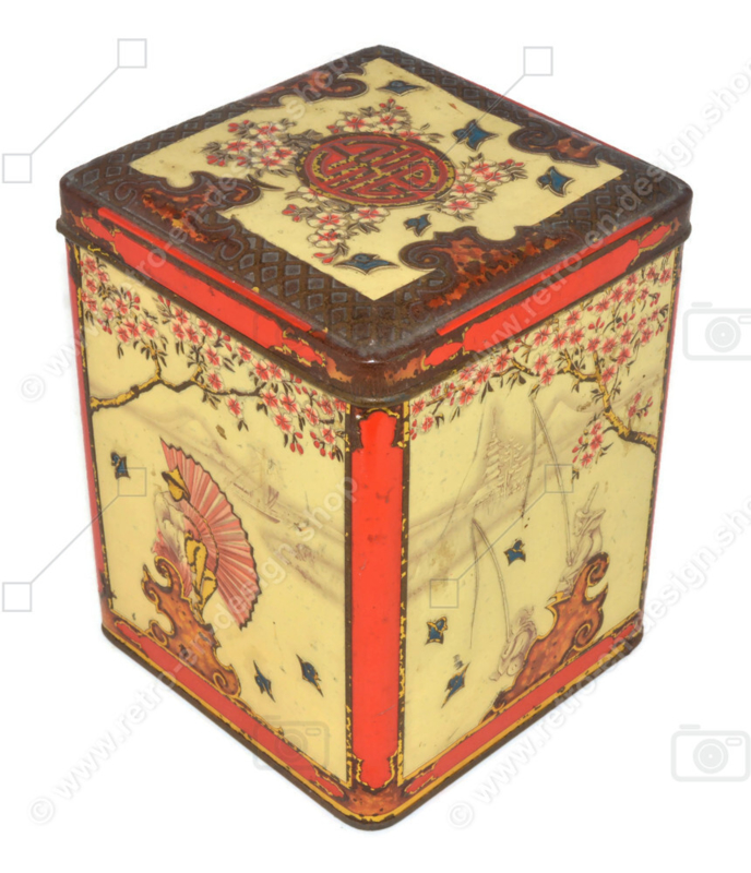 Lata de té rectangular con escenas orientales en relieve para NIEMEYER