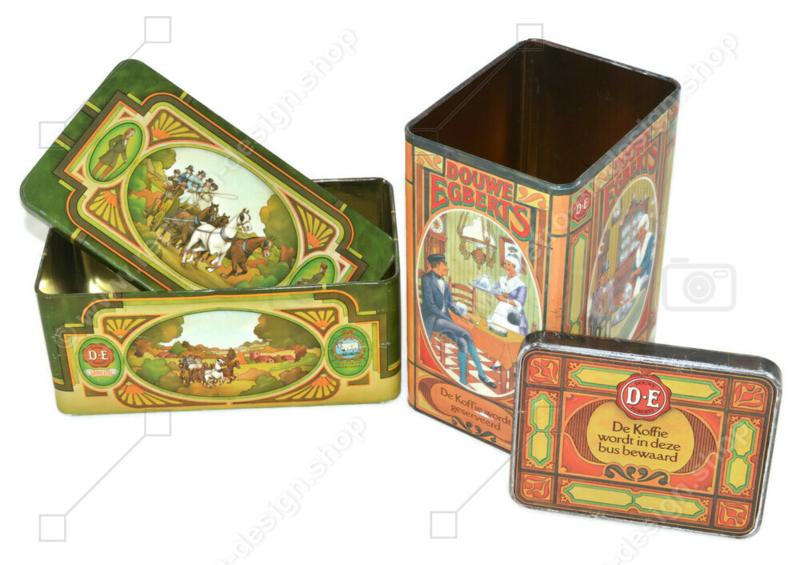 Set van twee vintage blikken van Douwe Egberts voor Koffie en Pickwick thee met nostalgische afbeeldingen