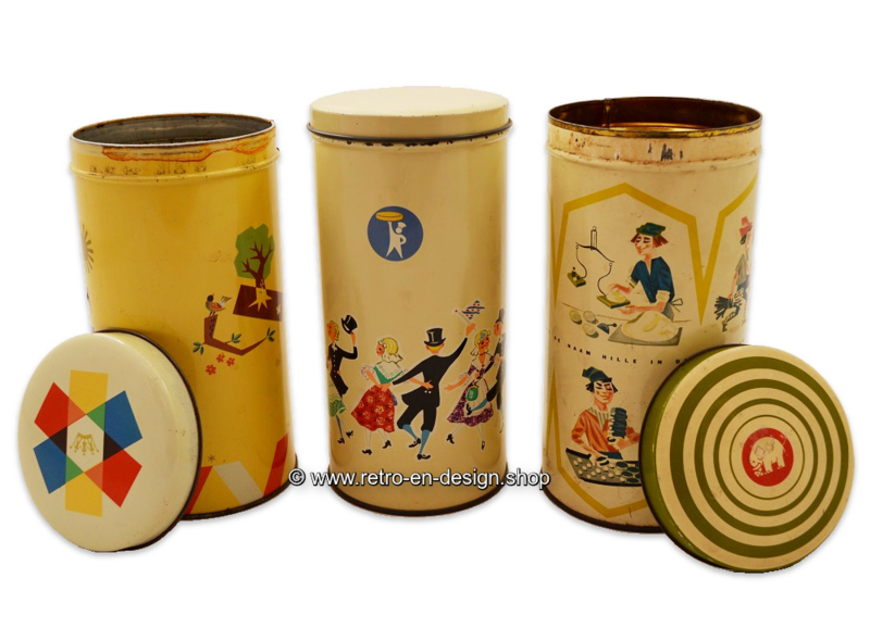 Set of three vintage biscuit tins by Co-op, Turkstra and Hille