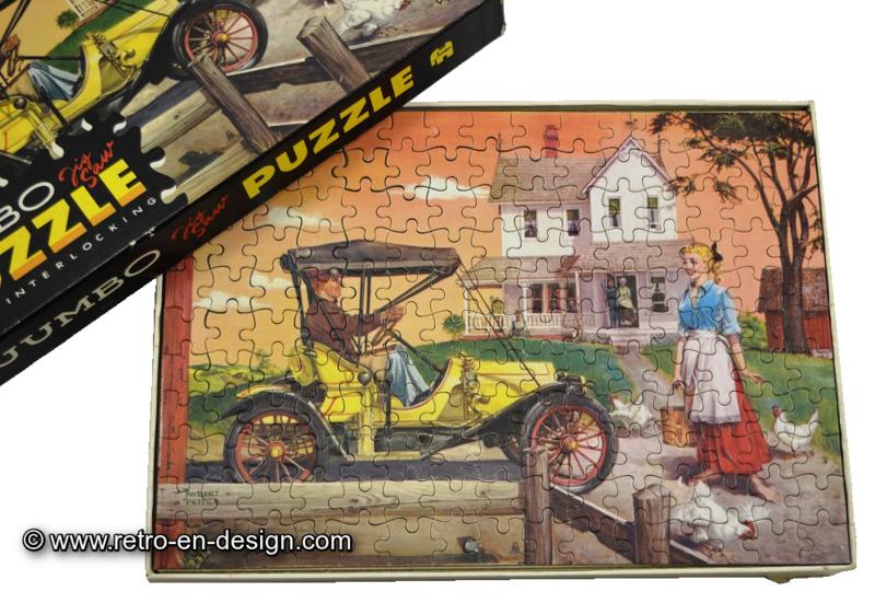 Vintage Jigsaw Puzzlel, Jumbo 1052 Oldtimer jaune devant une vieille maison (1964-1967) 160 piéces