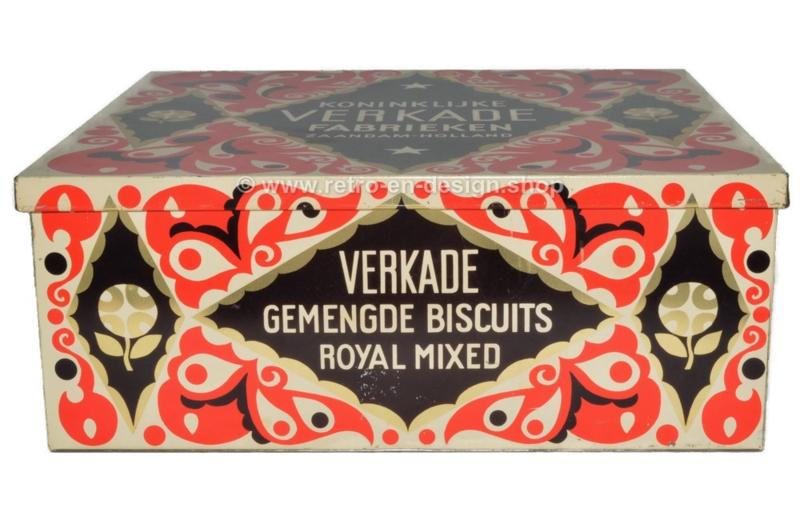 Reproductie van het originele vierkante Verkade winkelblik Royal Mixed met papieren wikkel uit 1925
