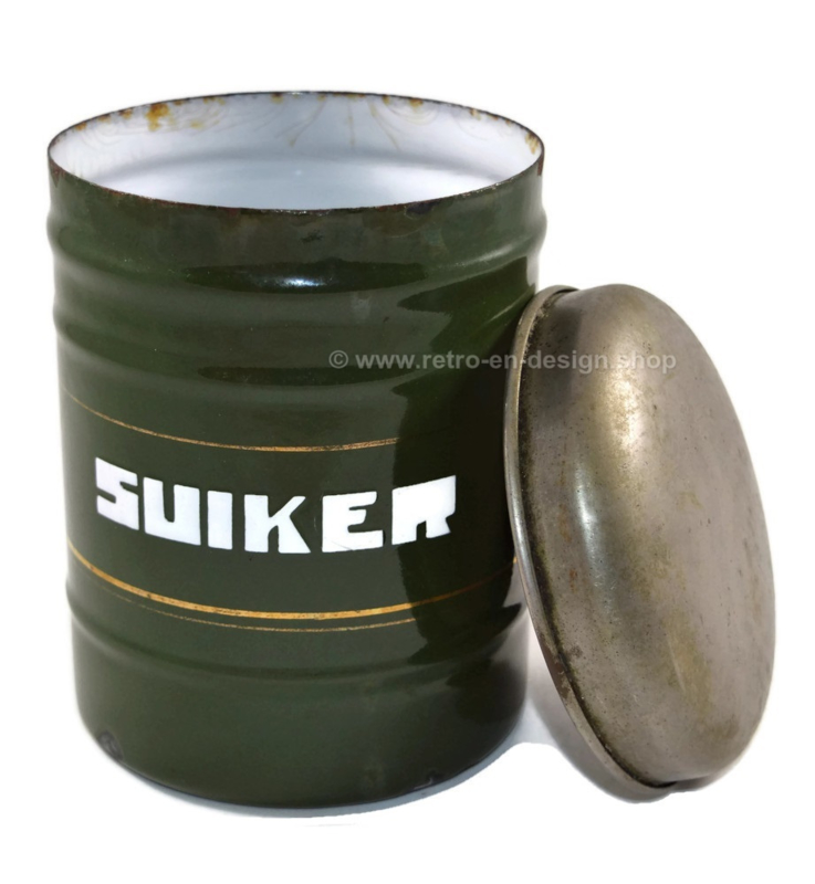 Dark green enameled stock container for Sugar