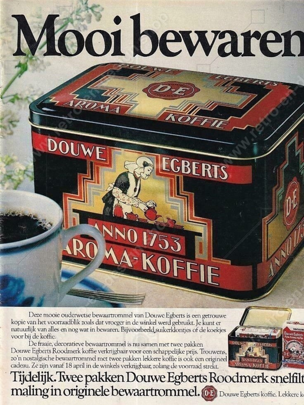 Vintage Douwe Egberts coffee tin Anno 1753 and Value points box