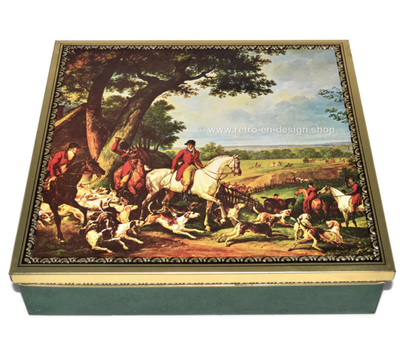 Vintage square tin with representation of an English hunting scene