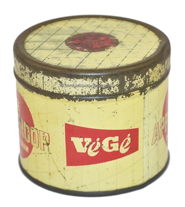 Vintage tin by Végé. Rinse Appelstroop inhoud 450 gram