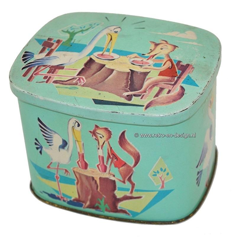 Vintage tin by Côte d'Or. The fox and the stork. Fable J. de La Fontaine