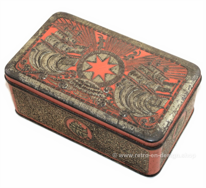 Tobacco tin in orange/gold with embossed decorations of ships for star-tobacco by Niemeijer