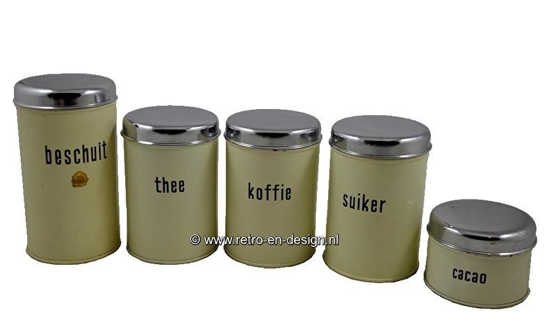 Brabantia set of tins Beschuit, Koffie, Suiker, Thee, Cacao