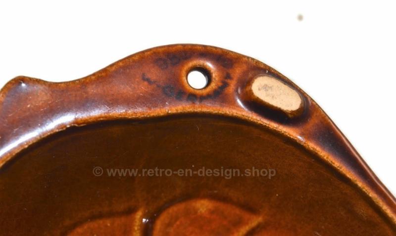 Vintage West-Germany braun Steingut / Keramik Puddingform in Fischform