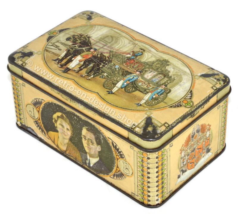 Vintage commemorative tin Juliana, Bernhard, 1937 - golden carriage, wedding