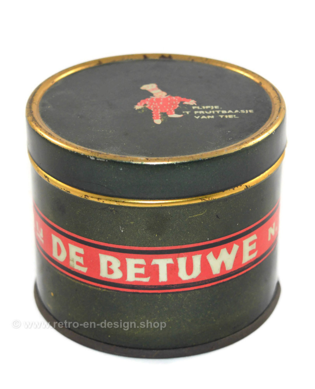 Vintage apple butter tin by 'De Betuwe' with Flipje the fruit boss of Tiel