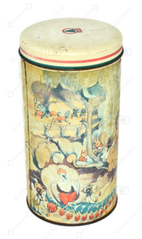 Lata de galletas vintage cilíndrica de De SPAR con personajes de cuento de hadas
