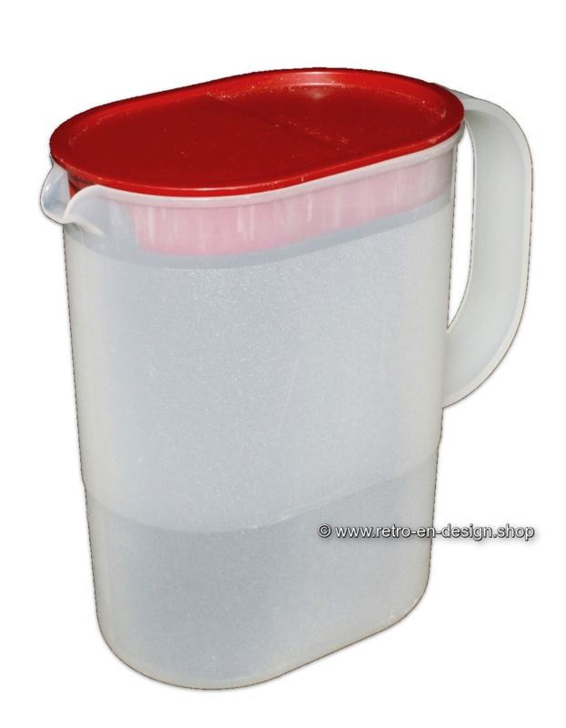 Vintage Tupperware Impressions jug with red lid, 1L
