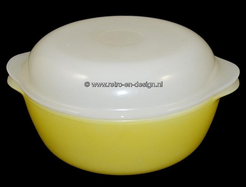 Arcopal France Opale, Gele ovenschaal met wit deksel