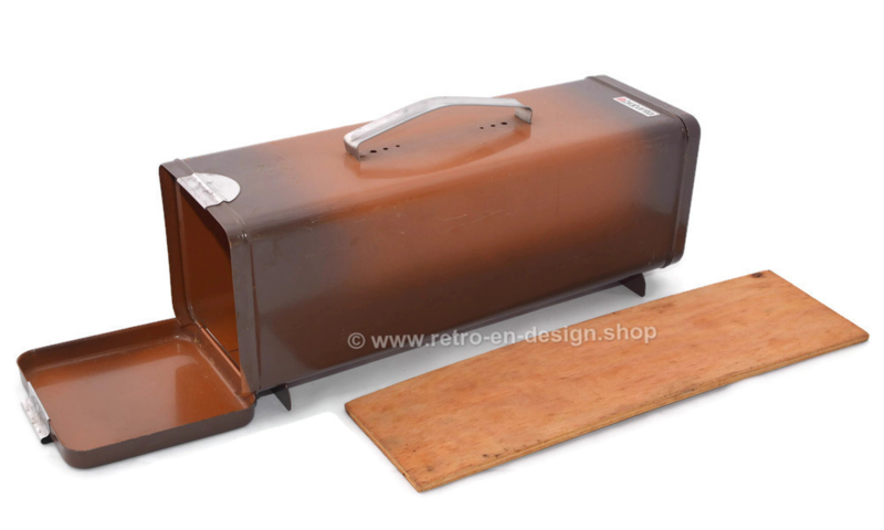 Vintage Brabantia gingerbread tin in two shades of brown