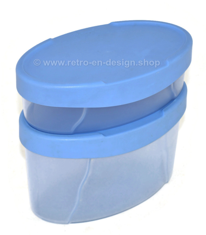 Set of two vintage Tupperware expressions storage containers in light blue and transparent