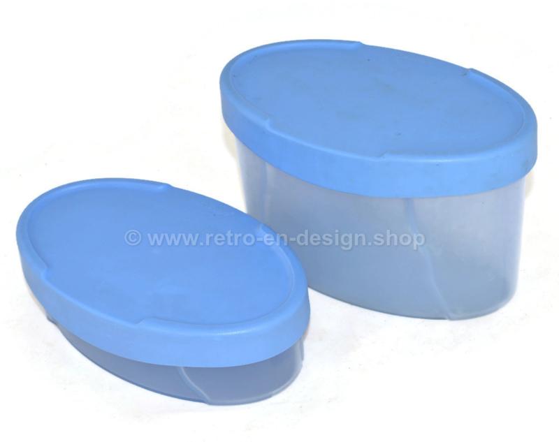 Set van twee vintage Tupperware expressions opbergers in lichtblauw en transparant