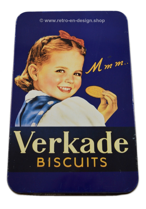 Vintage blauw koekblik met meisje. Mmm.. van Verkade