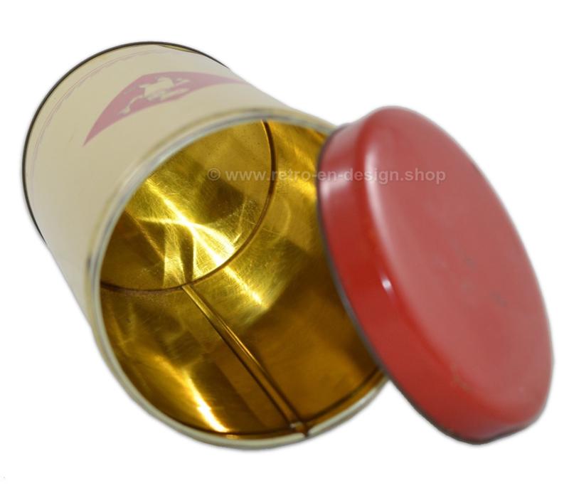 Lichtgele blikken beschuitbus voor Bolletje met rood deksel
