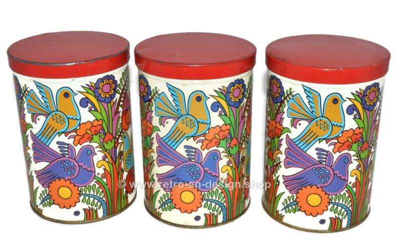Vintage set blikken trommels met Acapulco ontwerp
