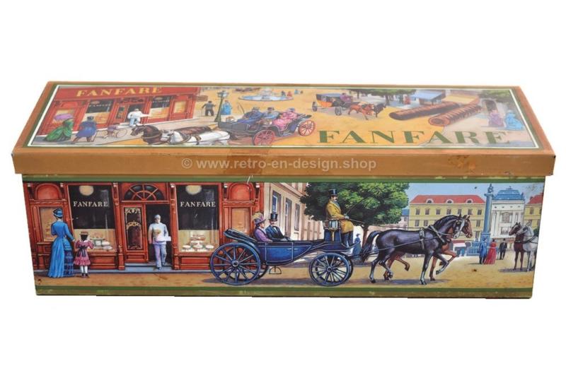 Vintage rectangular tin for Fanfare chocolates