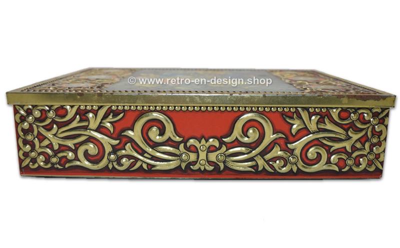 Large vintage tin box with flower decoration