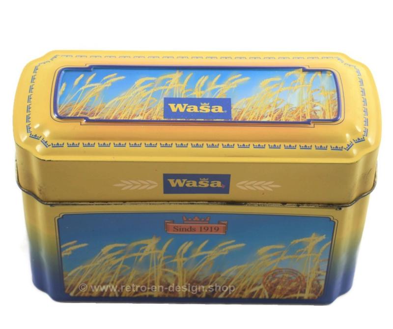 Blikken vintage doos voor Crackers van Wasa met afbeeldingen van rijp graan